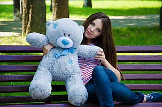 Великий плюшевий ведмедик 80см. Тедді сірий, білий, персик, коричневий, шампань