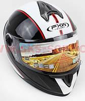 Шлем закрытый HF-122 M- ЧЕРНЫЙ глянец с белой полосой Q66, фото 1