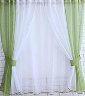 Комплект на кухню, тюль и шторки №38, Цвет оливковый с белым