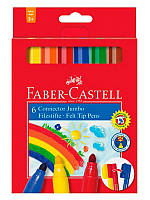 Фломастеры Faber-Castell, 6 цв. jumbo connector в картонной коробке