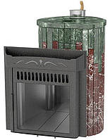 Дровяная банная печь Ферингер Ламель Макси облицовка Змеевик + Россо Леванте закрытая каменка