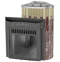 Дровяная печь Ферингер Ламель Мини облицовка Сильвия Оро + Россо Леванте металл открытая каменка