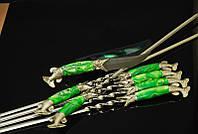 """Подарочный набор шампуров с ножом """"Хищник"""" (6шт, 3мм) в кожаном колчане (наличие уточняйте)"""