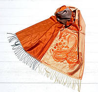 Женский стильный модный палантин оранжевого цвета Клара