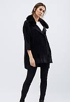 Демисезонное пальто с отделкой из искусственного меха