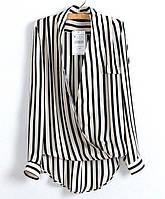 Шифоновые блузки ZARA в полоску с запахом Размеры: M, L . (11078)