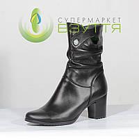 Сапоги женские кожаные на маленьком каблуке