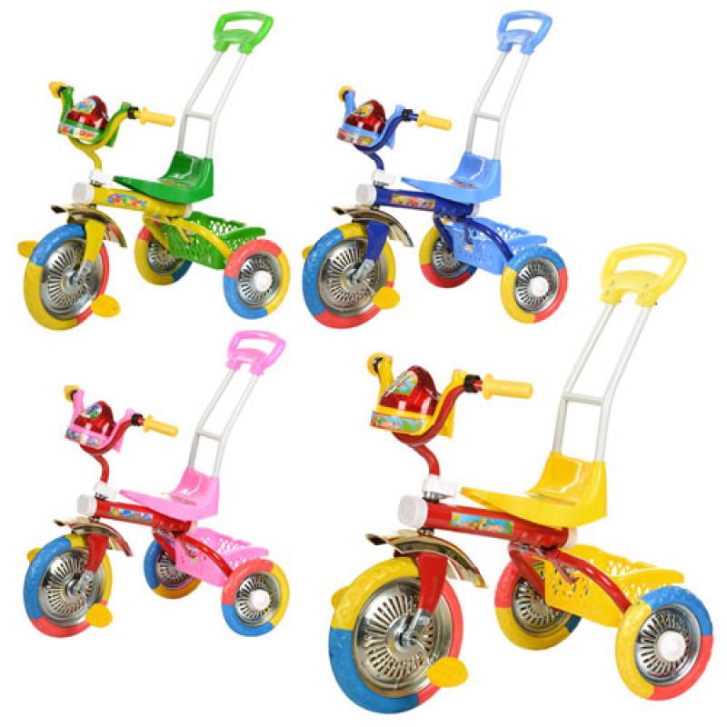 Велосипед B 2-2 / 6011 триколісний, колеса EVA, 3 кольори, ручка, мікс кольорів.