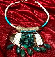 Ожерелье с кулоном, бусы, колье в этническом стиле с натуральными камнями