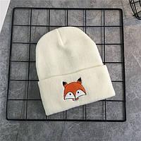 Модная женская трикотажная шапка FOX белого цвета
