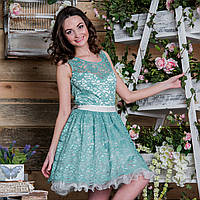 """Гипюровое короткое выпускное платье с пышной юбкой """"Андреа"""""""