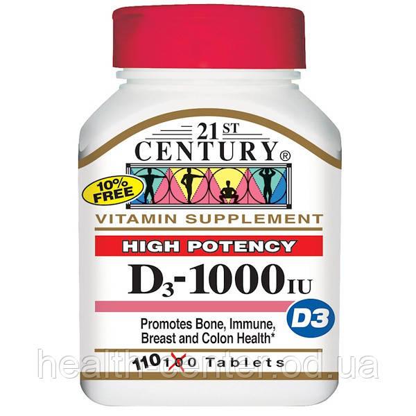 Витамин D3 (Д3), 1000 МЕ 110 таб 21st Century USA