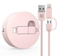Вытяжной USB кабель 2 в 1 Iphone+microUSB с чехлом. Универсальный USB шнур. Тип 1