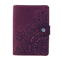 Обложка для документов Цветок фиолетовый 9.5*13.5см