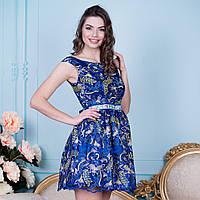 """Синее элегантное вечернее, выпускное платье пышное """"Злата"""""""