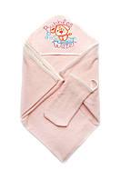 Детское полотенце махровое для купания с рукавичкой (персик)