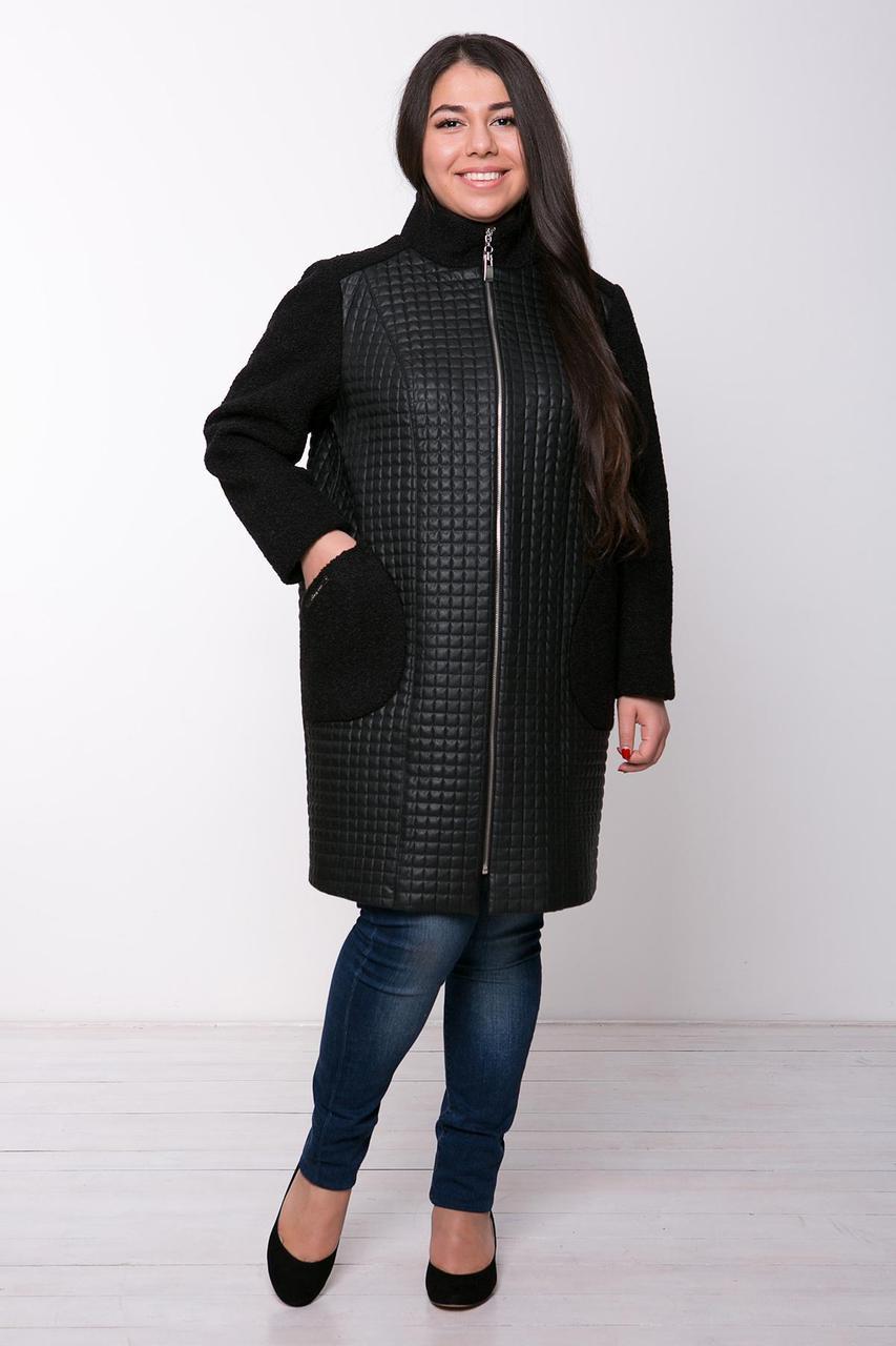 Пальто из стеганой искусственной кожи (квадрат) ЛУСИЯ черное (56-62)