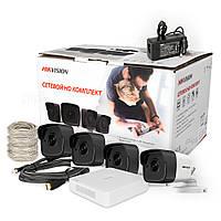 Комплект ip видеонаблюдения Hikvision на четыре камеры и с poe регистратором