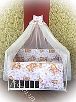 Комплект детского постельного белья 9 в 1 TM Bonna Спящие мишки бело-розового цвета