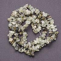 Бусины из натурального камня Пренит на леске крошка d-6х8мм(+-) L-85см
