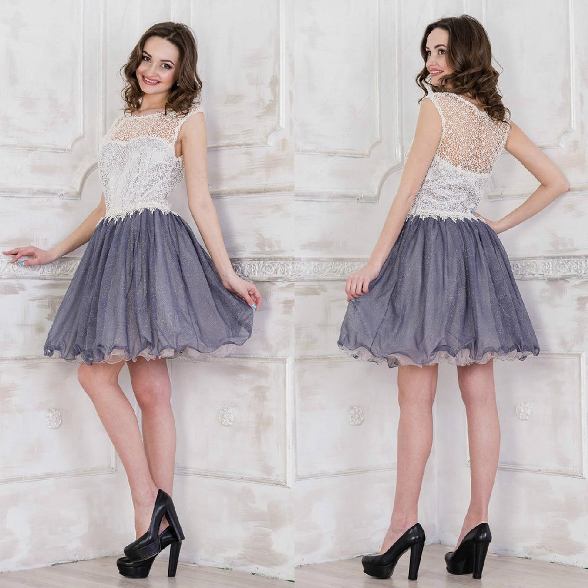 59e7a4045551db2 Платье вечернее пышное короткое серое