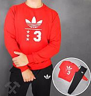 Спортивный костюм Adidas, адидас 03, красная кофта черные штаны, белое лого, спортивный, реглан, дк4