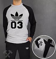 Спортивный костюм Adidas, адидас 03, серо-черный, реглан, хлопковый, спортивный, дк5