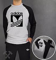 Спортивный костюм Adidas, адидас, серо-черный, реглан, хлопковый, молодежный, стильный, дк8