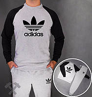 Спортивный костюм Adidas, адидас корона, серо-черный, реглан, хлопковый, спортивный, стильный, дк10