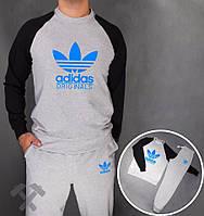 Спортивный костюм Adidas, адидас, серо-черный, реглан, хлопковый, спортивный, синее лого, дк12