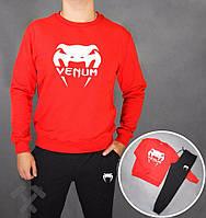 Спортивный костюм Venum, венум, красная кофта, черные штаны, белое лого, стильный, дк48