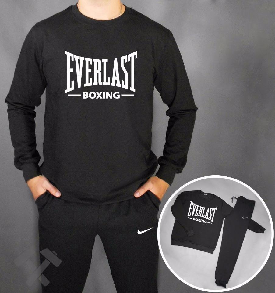 53e45a31 Спортивный костюм Everlast, еверласт, черный, реглан, спортивный, большое  лого, в наличии, дк68