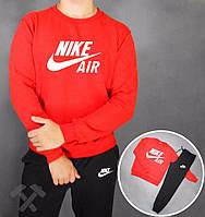 Спортивный костюм Nike, найк, реглан, красная кофта, черные штаны, хб, дк71