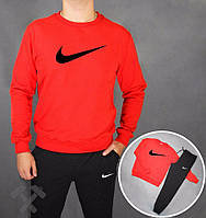 Спортивный костюм Nike, найк, реглан, красная кофта, черные штаны, хлопковый, черное лого, дк74