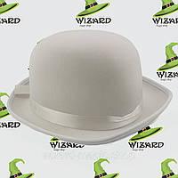 Шляпа Котелок атласный  Белый