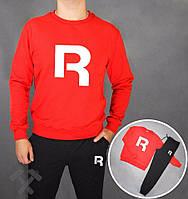 Спортивный костюм Reebok, рибок, красная кофта, черный штаны, белое лого, тритокаж, дк162