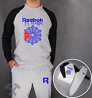 Спортивный костюм Reebok, рибок, серо-черный, реглан, хлопковый, молодежный, дк167