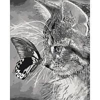 Картины по номерам - Котенок и бабочка 40*50см