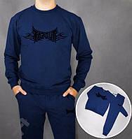 Спортивный костюм Tapout, тапаут, синий, черное лого, стильный, спортивный, дк199