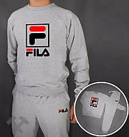Спортивный костюм Fila, фила, серый, спортивный, большое лого, стильный, в наличии, дк208