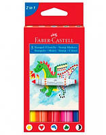 Фломастеры Faber-Castell, 5 цв. штамп-фломастеры двухсторонние в карт.коробке