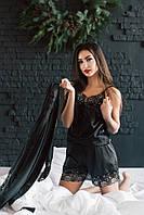 """Атласный женский домашний комплект """"Seeline"""" комбинезон и халат с кружевом (4 цвета)"""