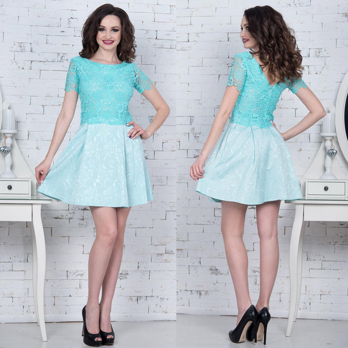 """Короткое вечернее платье с кружевом """"Есения"""""""