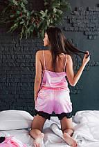 """Атласный женский домашний комплект """"Seeline"""" комбинезон и халат с кружевом (4 цвета), фото 2"""