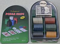 Набор для покера: 120 фишек, сукно, 2 колоды карт