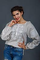 Женская блуза вышиванка с бежевого льна, фото 1