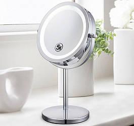 Косметическое зеркало для макияжа с подсветкой и увеличением двустороннее
