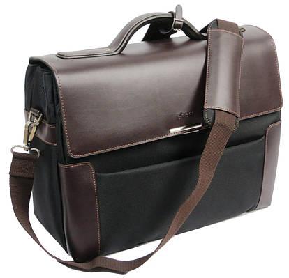 Портфель-саквояж кожаный большой Sheff S5201 тёмно коричневый/черный