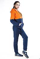 Костюм спортивный женский флис синий с оранжевым