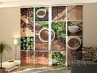"""Панельная фото штора """"Зеленый кофе"""" 240 х 240 см"""